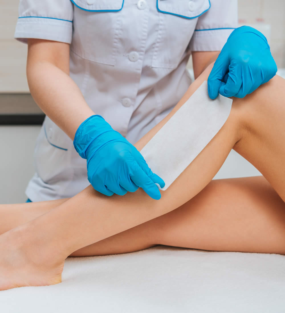 Professional waxing leg